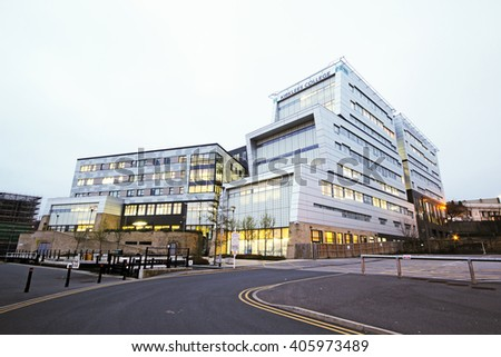 HUDDERSFIELD, UK - APRIL 14, 2016: 6th form College.. Huddersfield is a large market town and the largest settlement in the metropolitan borough of Kirklees, West Yorkshire, - stock photo