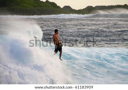 HUDHURANFUSHI ISLAND, MALDIVES - JUNE 29: Unidentified man surfing on huge wave of Indian Ocean of Maldives on 29 June 2009 Hudhuranfushi island is very popular place for surfers from over the world.