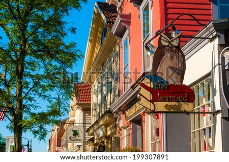 HUDSON, OH - JUNE 14, 2014: The Learned Owl bookstore has been beloved fixture of downtown Hudson for decades and is one of the few thriving independent booksellers in Northeast Ohio. - stock photo