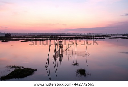 HUE. VIETNAM, April 19, 2016 fishing nets, the Tam Giang, Hue, central Vietnam