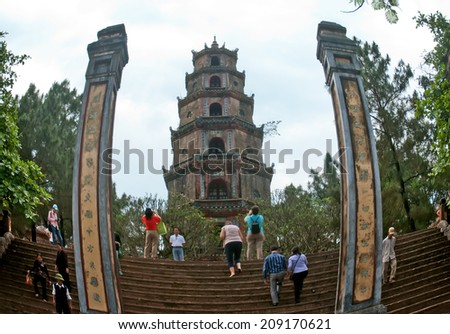 HUE, VIETNAM, April 13, 2013 is an ancient temple situated on Ha Khe hill, close to the river, from the center of Hue City (Vietnam) about 5 km to the west. Official Thien Mu Pagoda built in 1601 - stock photo
