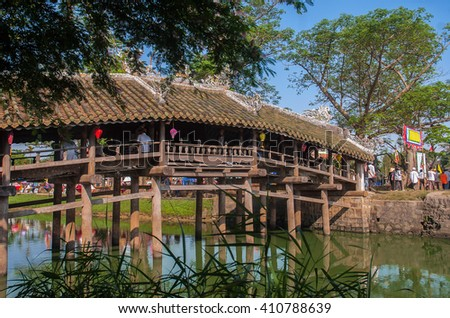 HUE. VIETNAM, April 19, 2016 Thanh Toan tile bridge, the city of Hue, Vietnam