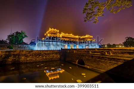 HUE, VIETNAM: BeautifulSunset in Imperial Royal Palace of Nguyen dynasty in Hue, Vietnam.Hue city is Unesco World Heritage , a famous city for travel in Vietnam.
