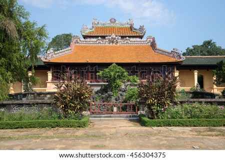 HUE, VIETNAM - JANUARY 07, 2016: The reading of the Imperial pavilion, Thai Binh forbidden Purple city Sunny day