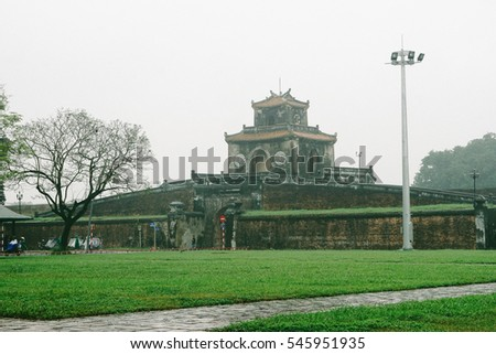 Hue, Vietnam - 10th December 2016 - Hue Imperial, a walled fortress and palace in the city of Hue, the former imperial capital of Vietnam. A well-known destination for travelers