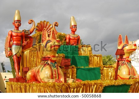HUELVA - JANUARY 5: Reyes Magos - Three Kings, The traditional parade in street, january 5, 2010 in Huelva, Andalusia, Spain. - stock photo