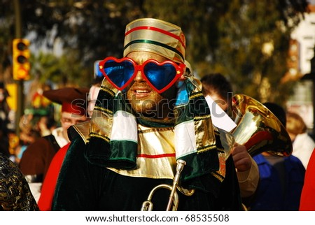 HUELVA - JANUARY 5: Three Kings, View of Spanish Men, the traditional parade in street, january 5, 2011 in Huelva, Andalusia, Spain. - stock photo
