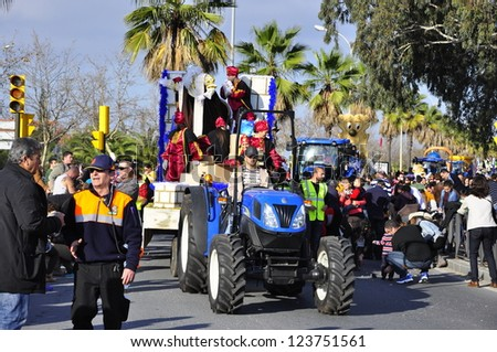 HUELVA, SPAIN - JANUARY 5: Reyes Magos - Three Kings, The traditional parade in street, January 5, 2013 in Huelva, Andalusia, Spain