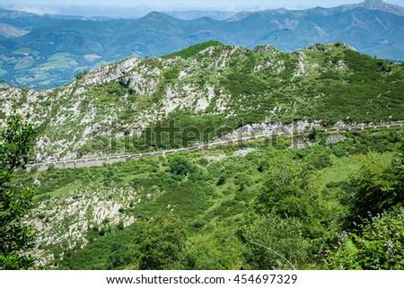Huesera, the famous Covadonga cycling ascending - stock photo