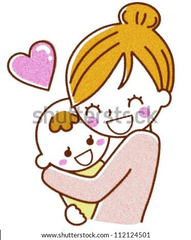 Hug baby mother - stock photo