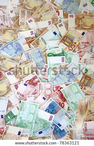 Huge amount of Euros photographed from above-all varieties bills - stock photo