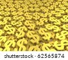Huge amount of golden dollar symbols. 3d rendered image - stock photo