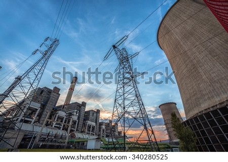 Huge and modern Power plant producing heat  - stock photo