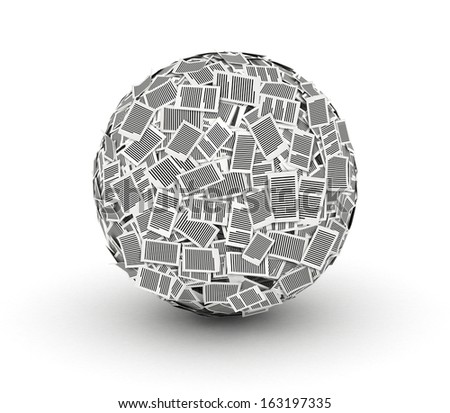 Huge ball from paper pages on white background paperwork concept