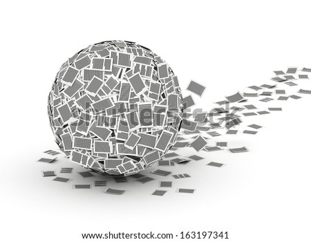 Huge ball from paper pages with trail,  paperwork concept