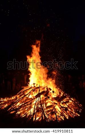 Huge bonfire at Skansen celebrating Valborg - stock photo