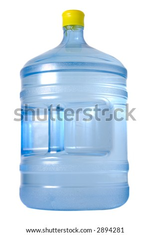 Huge bottle with water isolated over white background - stock photo