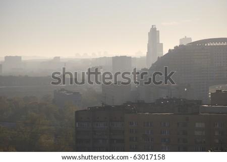 Huge city in morning daylight Moscow Sokolniki - stock photo