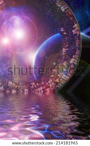 Huge City Multi-Generational City Ship Encounters New Planet - stock photo