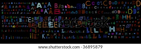 huge collection of a very large number of neon letters all isolated on black - letters A to M - part one of a two part series. - stock photo