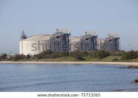 Huge concrete methane tanks in southern France - stock photo