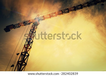 Huge Construction Cranes in Industrial Zone in Sunset Sunrise 3D Artwork