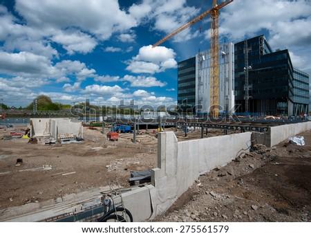 huge construction site - stock photo
