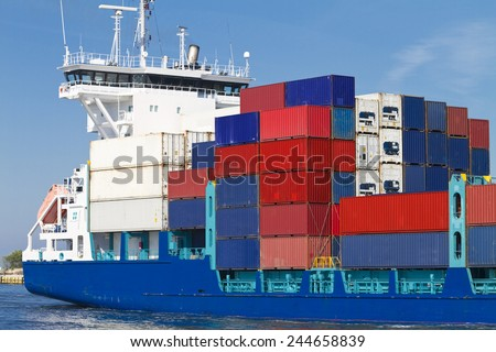 Huge container cargo ship heading for port