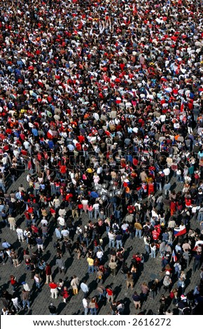 Huge crowd of ice hockey fans celebrating a victory of the Czech team in Prague, Czech Republic - stock photo