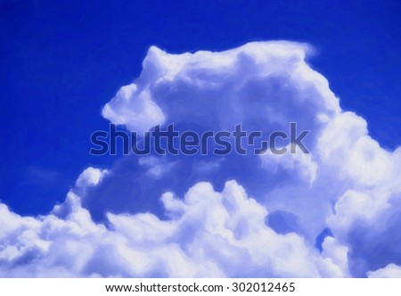 Huge cumulus clouds against the blue sky. Illustration in watercolor style
