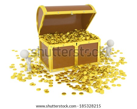Huge 3D Treasure Chest with Gold Coins and 3D Characters - stock photo