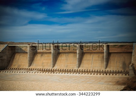 Huge dam in Iraqi desert near Kirkuk city, the dam recently constructed and not tested for water flow  - stock photo