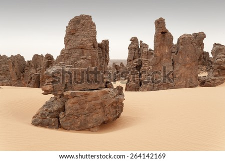 Huge dunes of the desert. Fine place for photographers and travelers. Beautiful structures of sandy barkhans. Rocks of unusual forms. - stock photo