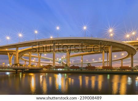Huge elevated crossroad (Bhumibol bridge) of Bangkok, Thailand - stock photo