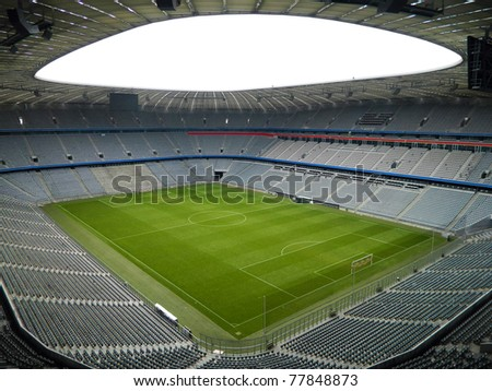 Huge Empty Football Arena - stock photo