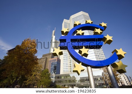 huge Euro sign in front of Eurotower, European Central Bank, Frankfurt - stock photo