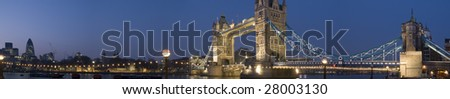 HUGE-Evening panorama of Central London, icluding famous landmarks as Tower bridge, The tower of London and the Gherkin. - stock photo