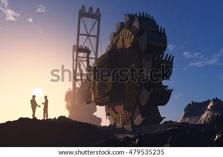 Huge excavator in his career.,3d render