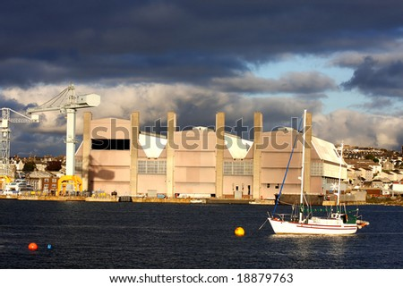 huge famous dock in Plymouth, UK - stock photo