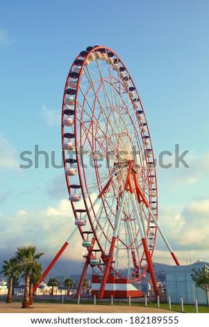 Huge ferris wheel in Batumi, Georgia - stock photo