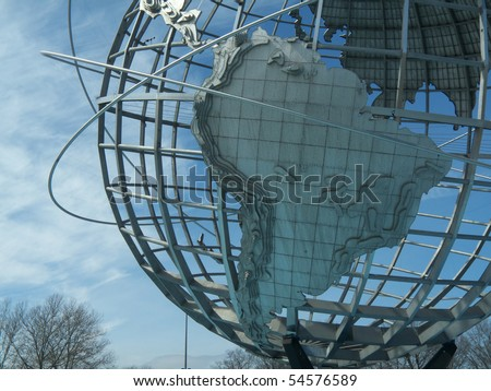 huge globe in Flushing Meadows park erected for the Expo 1964