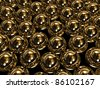 Huge gold spheres - stock photo