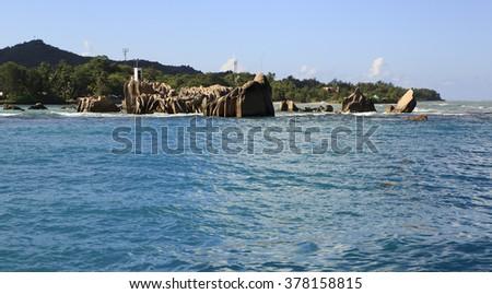 Huge granite boulders near Praslin Island in Indian Ocean. - stock photo