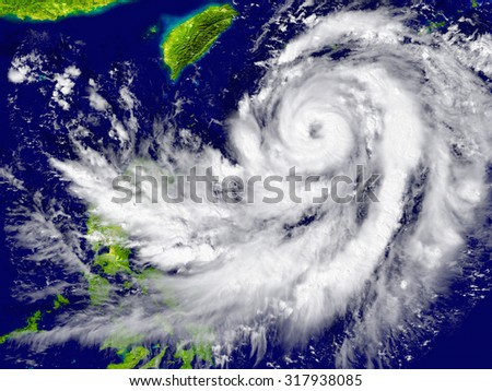 Huge hurricane approaching Southeast Asia. Elements of this image furnished by NASA - stock photo