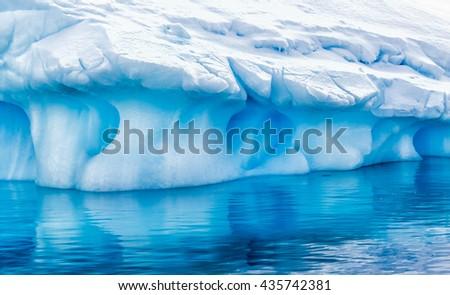 Huge icebergs near Neko Bay in Antarctica - stock photo