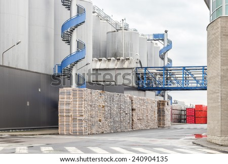 Huge, industrial containers with beer - stock photo