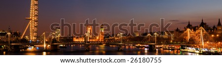 HUGE-London panoramic shot at twilight,including Big Ben and Houses of Parliament.(Stitched from multiple images.) - stock photo