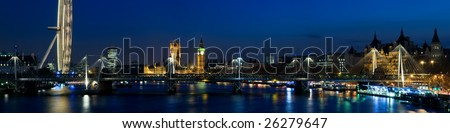 HUGE-London panoramic shot at twilight,including Big Ben and Houses of Parliament. (Stitched from multiple images.) - stock photo