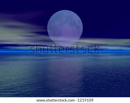 Huge moon over the ocean - stock photo