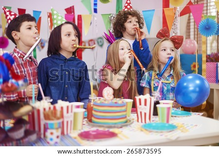 Huge noise at the kid's birthday party - stock photo